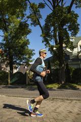 Side view of marathon runner