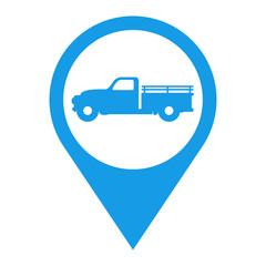 Icono plano localizacion camion vintage azul