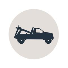Icono plano camion de remolque en circulo gris