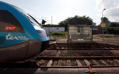 A train arrives at the French state-owned railway company SNCF station in Chantonnay