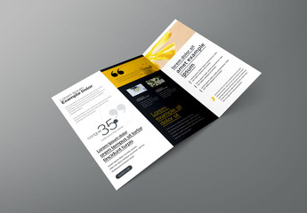 Trifold Business Brochure with Triangular Elements