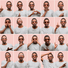 Young african man, different emotions collage over pink background