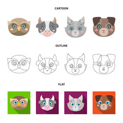 Owl, cow, wolf, dog. Animal's muzzle set collection icons in cartoon,outline,flat style vector symbol stock illustration web.