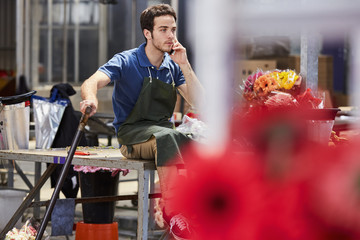 Florist Answering Smartphone In Greenhouse