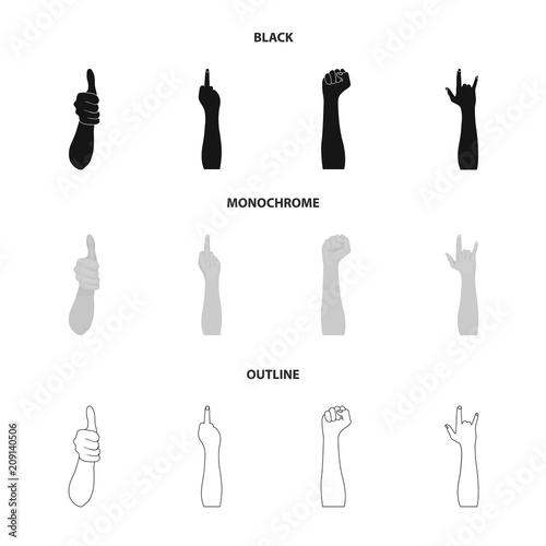 Sign Language black,outline icons in set collection for design