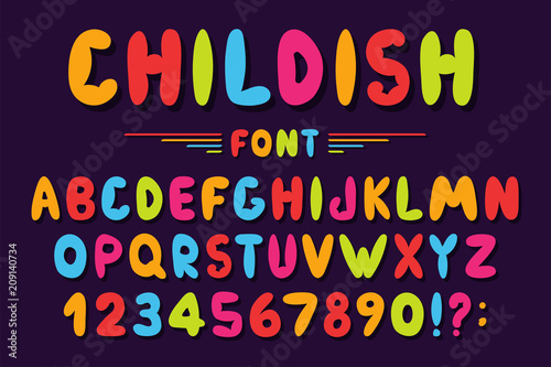 Children's font in cartoon style  Colorful bubble alphabet with