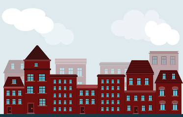 vector facade of buildings of houses of red color on a street in a city