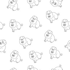 vector seamless pattern with animal pig on white background