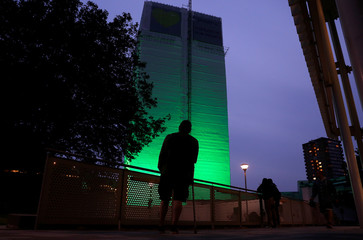 Grenfell Tower is seen covered and illuminated with green light one year after the tower fire in London