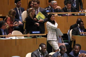 U.S. Ambassador to the United Nations Nikki Haley departs a United Nations General Assembly meeting in New York