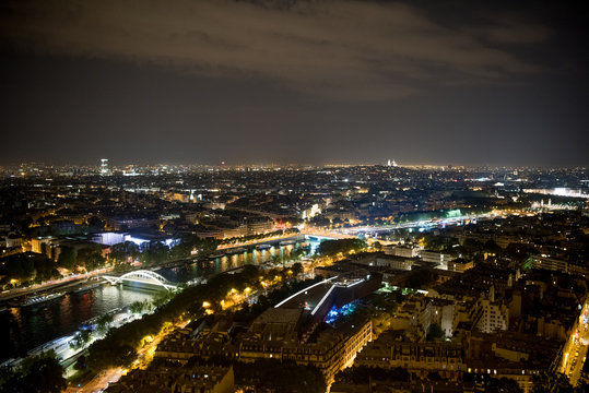 Glowing cityscape in night