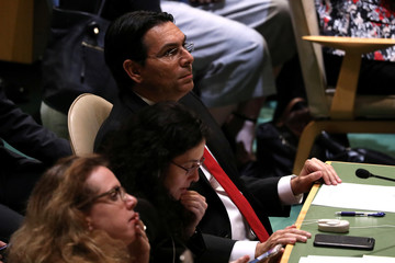Israeli Ambassador to the United Nations Danny Danon looks on as the United Nations General Assembly votes to adopt a draft resolution to deplore the use of excessive force by Israeli troops against Palestinian civilians at U.N. headquarters in New York