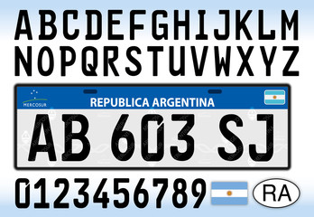 Argentina car license plate, letters, numbers and symbols, Mercosur style