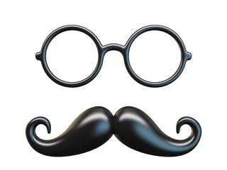 Black mustache and circular glasses 3D rendering