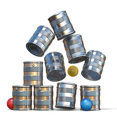 Falling tin cans and three balls 3D