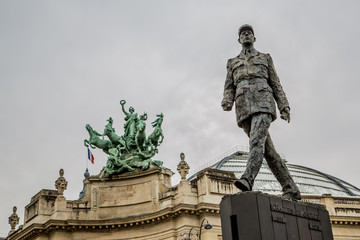Monument to French general and statesman Charles de Gaulle on the Avenue des Champs-Elysees, in Paris, France. Wall mural
