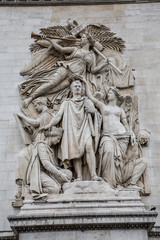 Close up view of the sculptures on the Arc de Triomphe in Paris, France