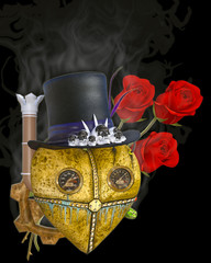 3D Illustration of a Steampunk Heart and Rose on Black Chroma Key Background for Easy Editing
