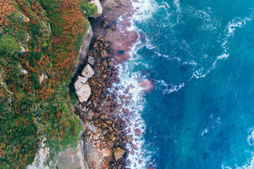 Aerial view of a rocky cliffs