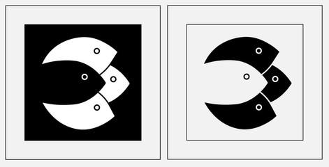 silhouettes of fish in a square fish minimalist logo