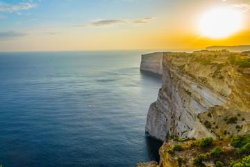 Fototapete - Sunset view over Ta Cenc cliffs on Gozo, Malta
