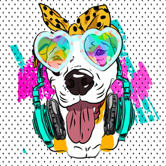 Comic image. Portrait of glamorous dog. Vector sketch for fashionable T-shirt.