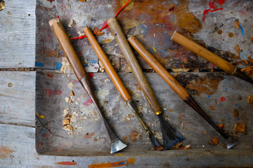 close-up of woodworking tools