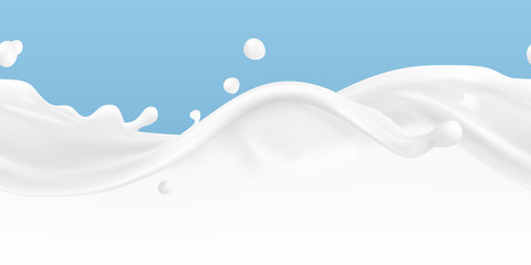 Splashes of milk seamless vector pattern