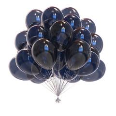 black balloon bunch translucent. birthday party decoration dark glossy. helium balloons classic. holiday, anniversary, carnival celebration symbol. 3D illustration