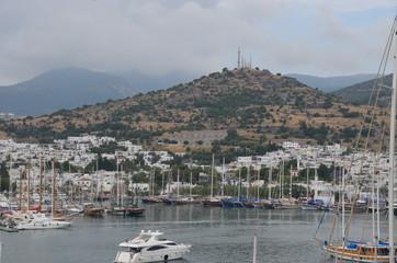 bodrum city panorama landscape boat