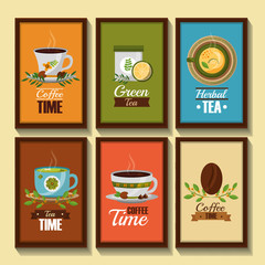 coffee and tea time banners decorative flower in cups grain seeds vector illustration