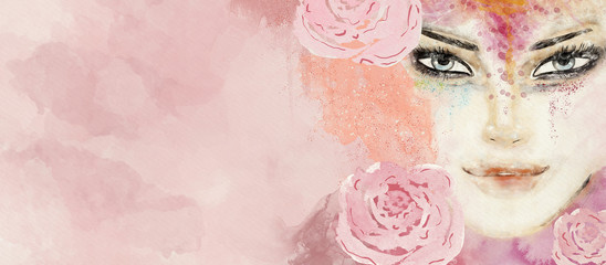 Watercolor abstract portrait of woman. Fashion background