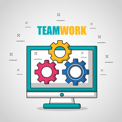 teamwork computer with tools in screen vector illustration