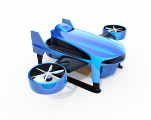 Blue VTOL drone with delivery packages on white background. 3D rendering image.