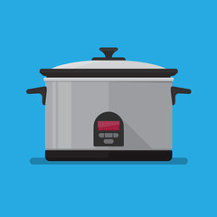 Electronic slow cooker vector flat design.