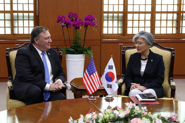 U.S. Secretary of State Mike Pompeo meets with South Korean Foreign Minister Kang Kyung-wha  during their meeting at the Foreign Ministry in Seoul