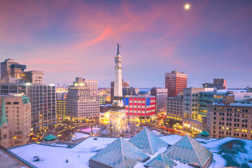 Wall Mural - Downtown Indianapolis skyline at twilight