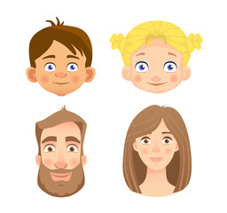 emotions of human face -set