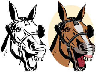 A cartoon portrait of a laughing horse.