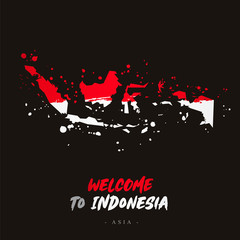 Welcome to Indonesia. Flag and map of the country