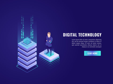 Business concept with computer technology element and business who stay on flying platform, data center