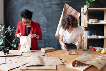 Gift wrapping in workshop