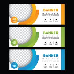 Abstract blue banner Green Brochure. Creative Orange banner design. Facebook banner. Facebook cover. Gift card. Voucher design. Brochure template