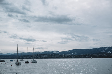 Panoramic view Zurich lake