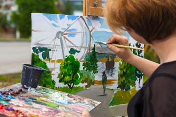 Artist paint summer park