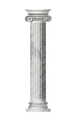 Object Roman column on a white background . 3D rendering.