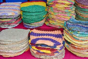 Knitted hats made of hemp.Goa.India