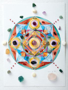 Mandala pattern, watercolor painting. with crystal
