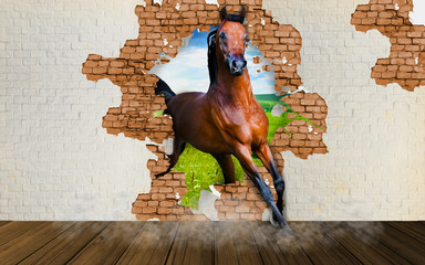Wallpaper horse enters the room. 3D rendering.