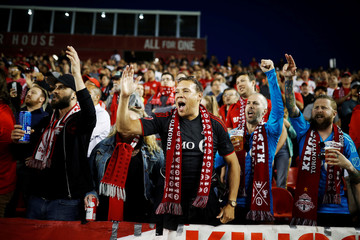 Fans cheer as Toronto FC play D.C. United, in their MLS soccer match, at BMO Field, a venue for the 2026 FIFA World Cup, in Toronto